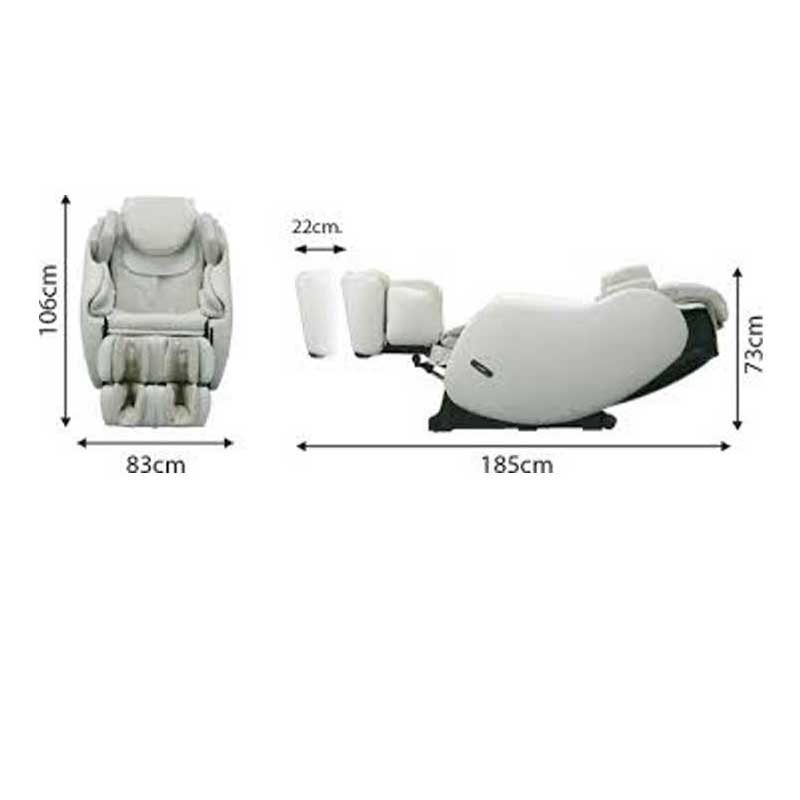 The dimensions of the Inada 3S Flex massage chair